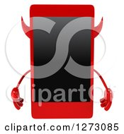 Clipart Of A 3d Devil Smart Phone Character Royalty Free Illustration by Julos