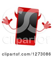 Clipart Of A 3d Devil Smart Phone Character Jumping Royalty Free Illustration by Julos