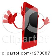 Clipart Of A 3d Devil Smart Phone Character Facing Right And Jumping Royalty Free Illustration