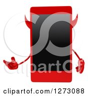 Clipart Of A 3d Devil Smart Phone Character Presenting Royalty Free Illustration