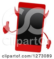 Clipart Of A 3d Devil Smart Phone Character Giving A Thumb Up Royalty Free Illustration