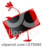 Clipart Of A 3d Devil Smart Phone Character Cartwheeling Royalty Free Illustration
