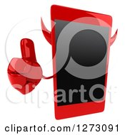 Clipart Of A 3d Devil Smart Phone Character Holding Up A Thumb Royalty Free Illustration