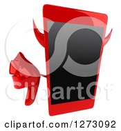 Clipart Of A 3d Devil Smart Phone Character Holding Up A Thumb Down Royalty Free Illustration