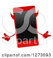 Clipart Of A 3d Devil Smart Phone Character Shrugging Royalty Free Illustration