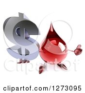 Clipart Of A 3d Hot Water Or Blood Drop Mascot Holding Up A Thumg And A Dollar Symbol Royalty Free Illustration