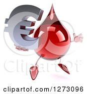 Clipart Of A 3d Hot Water Or Blood Drop Mascot Facing Slightly Right And Jumping With A Euro Symbol Royalty Free Illustration