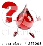 Clipart Of A 3d Hot Water Or Blood Drop Mascot Jumping And Holding A Question Mark Royalty Free Illustration by Julos
