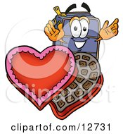 Clipart Picture Of A Suitcase Cartoon Character With An Open Box Of Valentines Day Chocolate Candies by Toons4Biz