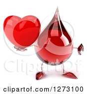 Clipart Of A 3d Hot Water Or Blood Drop Mascot Giving A Thumb Down And Holding A Heart Royalty Free Illustration