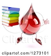 Clipart Of A 3d Hot Water Or Blood Drop Mascot Jumping And Holding A Stack Of Books Royalty Free Illustration