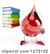 Clipart Of A 3d Hot Water Or Blood Drop Mascot Holding And Pointing At A Stack Of Books Royalty Free Illustration