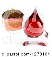 Clipart Of A 3d Hot Water Or Blood Drop Mascot Holding A Chocolate Frosted Cupcake Royalty Free Illustration by Julos