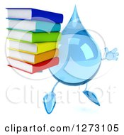 Clipart Of A 3d Water Drop Character Facing Right And Jumping With A Stack Of Books Royalty Free Illustration