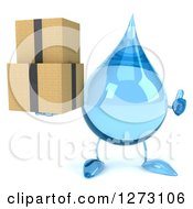 Clipart Of A 3d Water Drop Character Holding A Thumb Up And Boxes Royalty Free Illustration