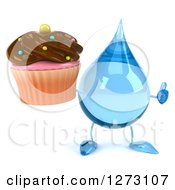 Clipart Of A 3d Water Drop Character Holding A Thumb Up And A Chocolate Frosted Cupcake Royalty Free Illustration