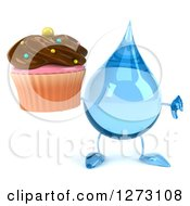 Clipart Of A 3d Water Drop Character Holding A Thumb Down And A Chocolate Frosted Cupcake Royalty Free Illustration