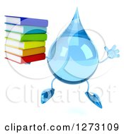 Clipart Of A 3d Water Drop Character Jumping With A Stack Of Books Royalty Free Illustration
