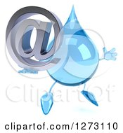 Clipart Of A 3d Water Drop Character Facing Right Jumping And Holding An Email Arobase Symbol Royalty Free Illustration by Julos