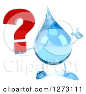 Clipart Of A 3d Water Drop Character Holding Up A Finger And A Question Mark Royalty Free Illustration