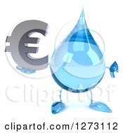 Clipart Of A 3d Water Drop Character Holding A Euro Symbol And Thumb Down Royalty Free Illustration