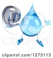 Clipart Of A 3d Water Drop Character Jumping And Holding An Email Arobase Symbol Royalty Free Illustration