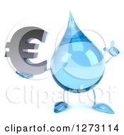 Clipart Of A 3d Water Drop Character Holding Up A Finger And A Euro Symbol Royalty Free Illustration