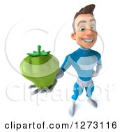 Clipart Of A 3d Young Brunette White Male Super Hero In A Blue Suit Holding Up A Green Bell Pepper Royalty Free Illustration