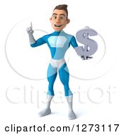 Clipart Of A 3d Young Brunette White Male Super Hero In A Blue Suit Holding Up A Finger And A Dollar Symbol Royalty Free Illustration by Julos