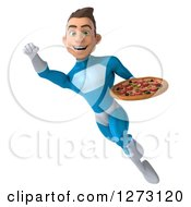 Clipart Of A 3d Young Brunette White Male Super Hero In A Blue Suit Flying To The Left With A Pizza Royalty Free Illustration by Julos