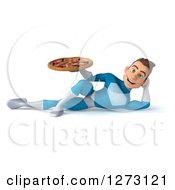 Clipart Of A 3d Young Brunette White Male Super Hero In A Blue Suit Resting And Holding Holding A Pizza Royalty Free Illustration by Julos