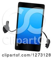 Clipart Of A 3d Smart Touch Screen Cell Phone Character Giving A Thumb Up Royalty Free Illustration
