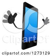 Clipart Of A 3d Smart Touch Screen Cell Phone Character Facing Right And Jumping Royalty Free Illustration