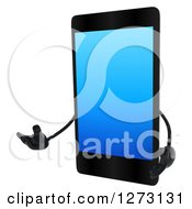 Clipart Of A 3d Smart Touch Screen Cell Phone Character Presenting To The Left Royalty Free Illustration