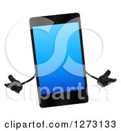 Clipart Of A 3d Smart Touch Screen Cell Phone Character Shrugging Royalty Free Illustration