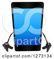 Clipart Of A 3d Smart Touch Screen Cell Phone Character Pouting Royalty Free Illustration