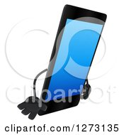 Clipart Of A 3d Smart Touch Screen Cell Phone Character Facing Right And Pouting Royalty Free Illustration