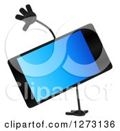 Clipart Of A 3d Smart Touch Screen Cell Phone Character Cartwheeling Royalty Free Illustration