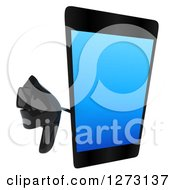 Clipart Of A 3d Smart Touch Screen Cell Phone Character Holding Up A Thumb Down Royalty Free Illustration