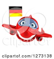 Clipart Of A 3d Happy Red Airplane Holding A Thumb Up And Flying With A German Flag Royalty Free Illustration