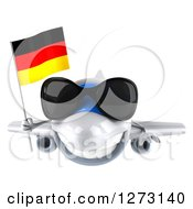 Clipart Of A 3d Happy White Airplane Wearing Sunglasses And Flying With A German Flag Royalty Free Illustration