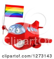 Clipart Of A 3d Happy Red Airplane Flying With A LGBT Rainbow Flag Royalty Free Illustration