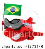 Clipart Of A 3d Happy Red Airplane Wearing Sunglasses And Flying To The Left With A Brazilian Flag Royalty Free Illustration