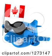 Clipart Of A 3d Happy Blue Airplane Wearing Sunglasses And Flying To The Left With A Canadian Flag Royalty Free Illustration