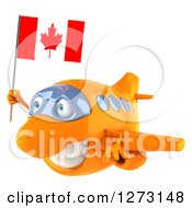 Clipart Of A 3d Happy Orange Airplane Flying To The Left With A Canadian Flag Royalty Free Illustration