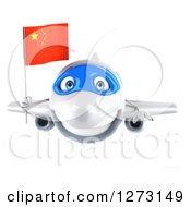 Clipart Of A 3d White Airplane Flying With A Chinese Flag Royalty Free Illustration
