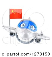 Clipart Of A 3d White Airplane Giving A Thumb Up And Flying With A Chinese Flag Royalty Free Illustration