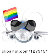 Clipart Of A 3d Happy White Airplane Wearing Sunglasses And Flying With A LGBT Rainbow Flag Royalty Free Illustration