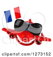 Clipart Of A 3d Happy Red Airplane Wearing Sunglasses Giving A Thumb Up And Flying With A French Flag Royalty Free Illustration