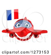 Clipart Of A 3d Happy Red Airplane Flying With A French Flag Royalty Free Illustration